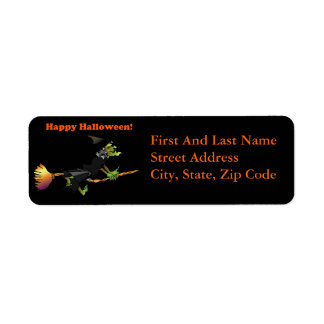 Halloween Cartoon Green Witch on Broomstick Return Address Label