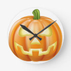 Halloween carved pumpkin round clock