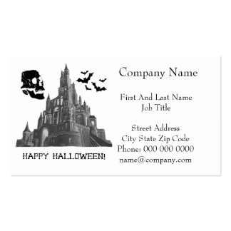 Halloween Castle with Skull and Bat Business Card Template