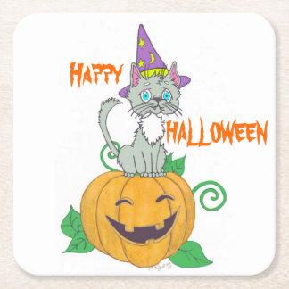 Halloween Cat and Pumpkin Paper Napkins Square Paper Coaster