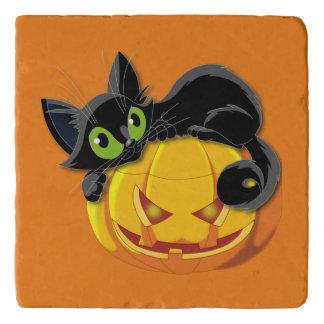 Halloween cat and pumpkin trivets