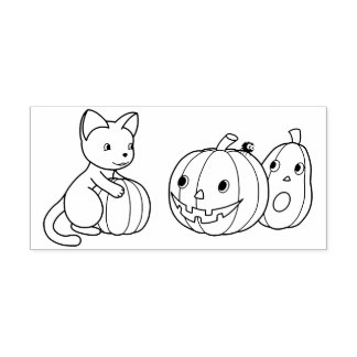 Halloween Cat and Pumpkins Color Me Rubber Stamp