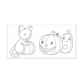 Halloween Cat and Pumpkins Color Me Self-inking Stamp
