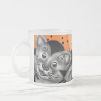 HALLOWEEN CAT CARTOON Frosted Glass Mug 10 onz
