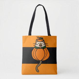 Halloween Cat Costume Pumpkin Trick or Treat Bag Tote Bag