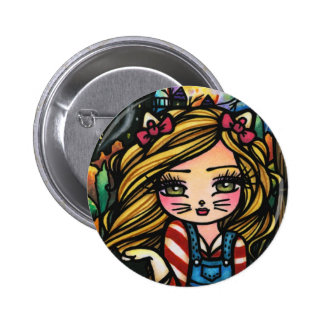 Halloween Cat Haunted House Girl Fantasy Art 6 Cm Round Badge