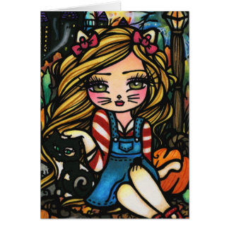 Halloween Cat Haunted House Girl Fantasy Art Card