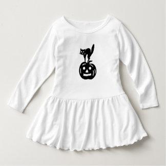 Halloween Cat & Jack-O'-Lantern Toddler Dress