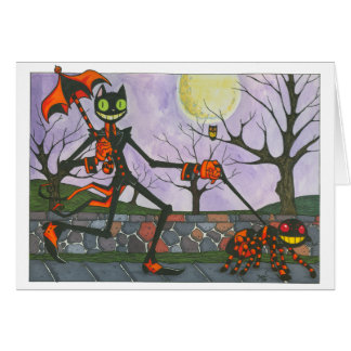 """Halloween Cat & Pocket"" Blank Card"