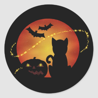Halloween Cat Pumpkin and Bats Silhouette Scene Classic Round Sticker