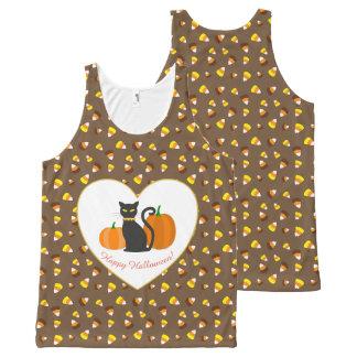 Halloween Cat, Pumpkins, Heart & Candy Corn All-Over Print Singlet