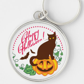 Halloween cat Silver-Colored round key ring
