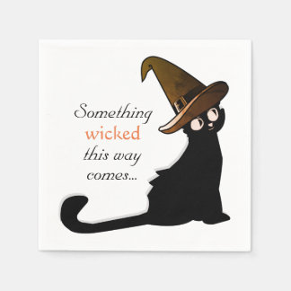 Halloween Cat Witch - Napkins Disposable Napkins