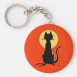 Halloween Cat with Moon ~ Basic Round Button Key Ring