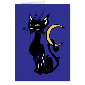 halloween cat with moon greeting cards