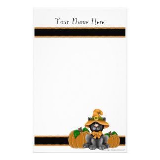 Halloween Cat with Pumpkins Personal Stationery