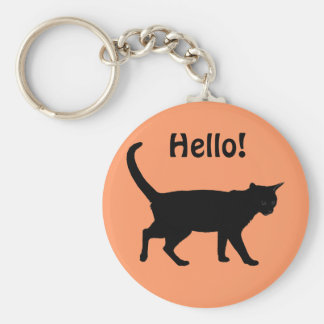 Halloween cats! basic round button key ring