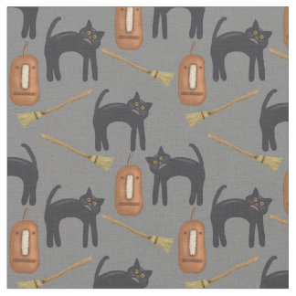 "Halloween Cats, Gray Background, 56"" Cotton Fabric"