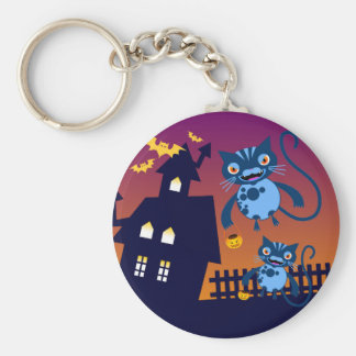 Halloween cats have trick or treat fun key chains