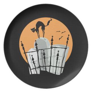 Halloween Cemetery Cat Plate