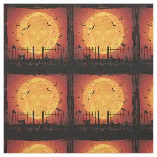 Halloween cemetery, skull in moon, bats fabric