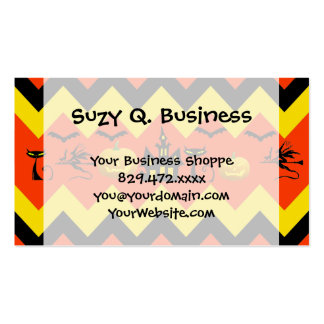Halloween Chevron Haunted House Black Cat Pattern Business Cards