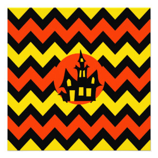 Halloween Chevron Spooky Haunted House Design Announcement