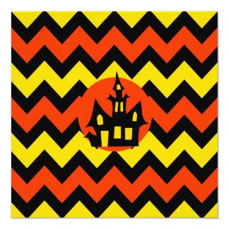 "Halloween Chevron Spooky Haunted House Design 5.25"" Square Invitation Card"