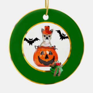 Halloween Chihuahua dog Round Ceramic Decoration