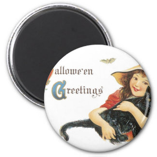 Halloween Child Witch with Black Cat 6 Cm Round Magnet