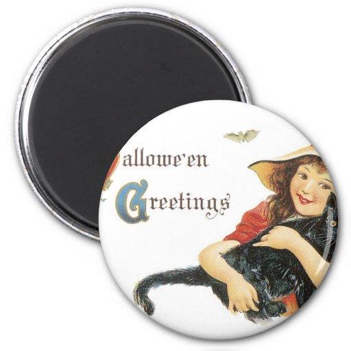 Halloween Child Witch with Black Cat Fridge Magnet