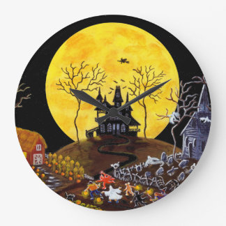 Halloween,clock,graveyard,ghosts,witch,church Large Clock