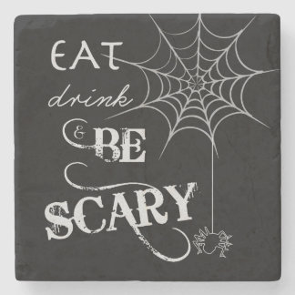 Halloween Coasters   Eat, Drink, & Be Scary Stone Beverage Coaster