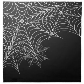 Halloween Cobwebs on Black Background Napkin