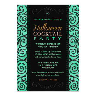Halloween Cocktail Party Elegant Invitation Green