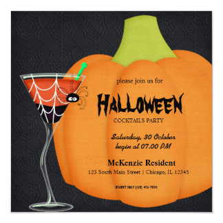 Halloween Cocktail Party Personalized Announcements