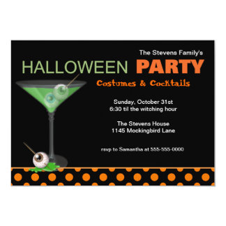 Halloween Cocktails and Costume Party Invitation