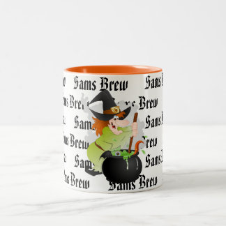 Halloween Coffee Mug-Custom Name Witch Brew Two-Tone Coffee Mug