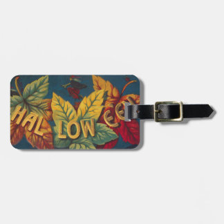 Halloween Colored Leaf Leaves Witch Bat Luggage Tag
