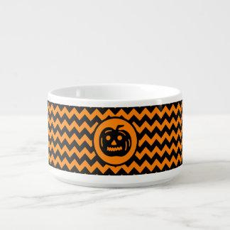 Halloween colors chevron vintage Jack o Lantern Chili Bowl