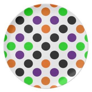 Halloween Colors Polka Dot Pattern Dinner Plate