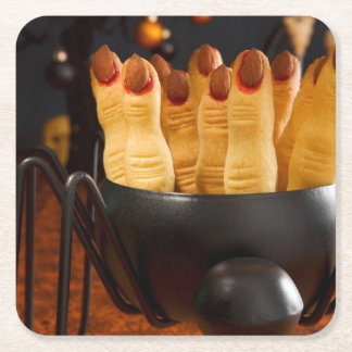 Halloween Cookies - Witch'S Fingers Square Paper Coaster