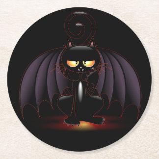 Halloween - Cool Bat Cat Round Paper Coaster