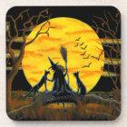 Halloween cork back coasters,witch,black,cats,bats coaster