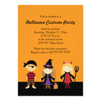 """Halloween Costume Party Invitations for Kids 5"""" X 7"""" Invitation Card"""