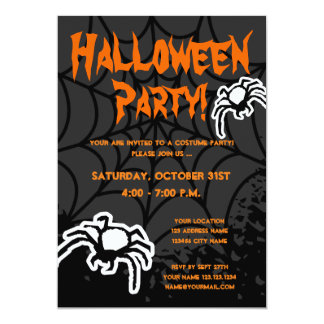 Halloween costume party invitations with spiderweb
