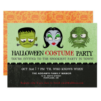 Halloween Costume Party Monster Masks Invitation