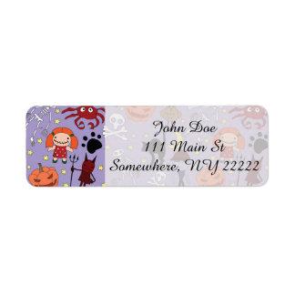 Halloween Costumes on Purple Return Address Label