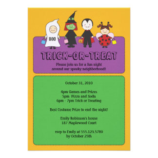 Halloween Costumes Trick or Treating Party Custom Invitations