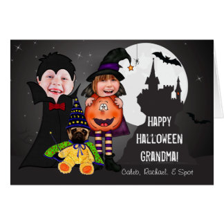 Halloween Costumes with Kids Photos Custom Text Card